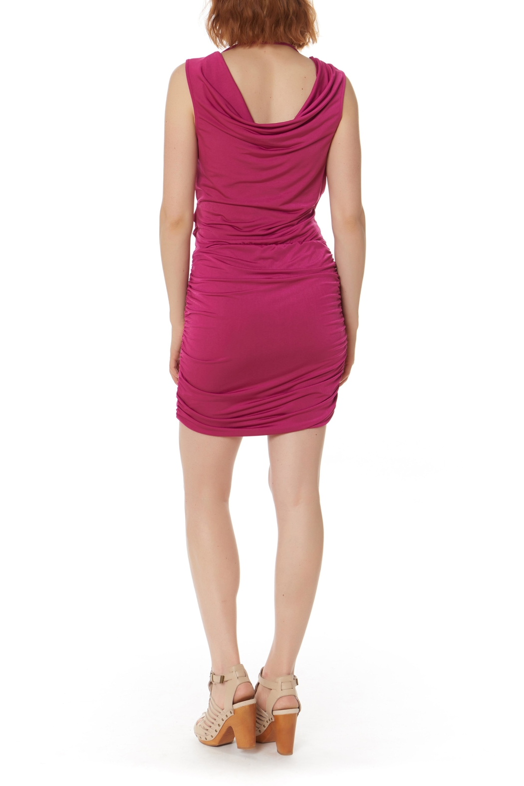 Bobi Los Angeles Shirred Side Dress - Back Cropped Image