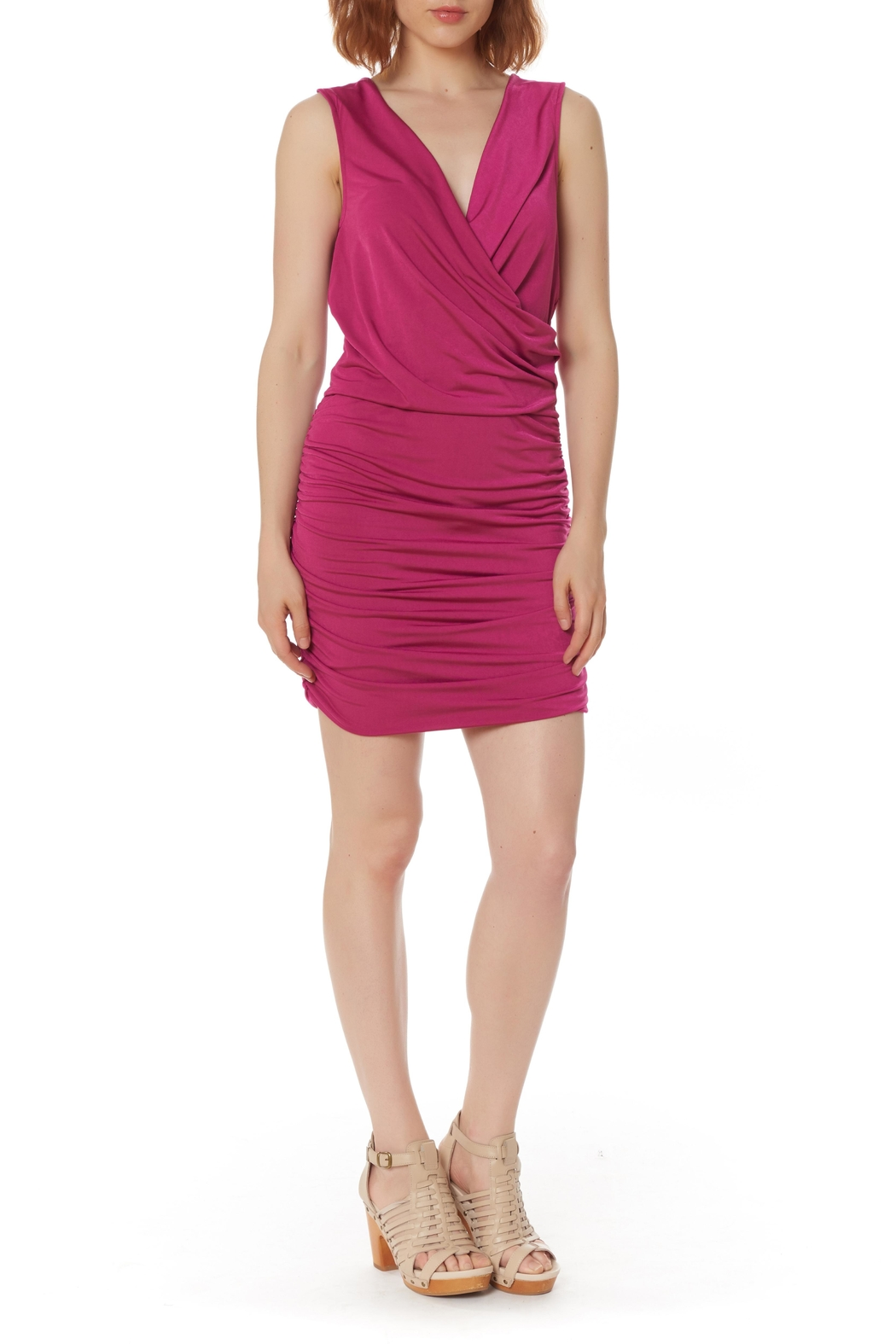 Bobi Los Angeles Shirred Side Dress - Side Cropped Image