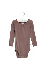 Wheat Body Rib Lace Long Sleeve - Powder Plum - Product Mini Image