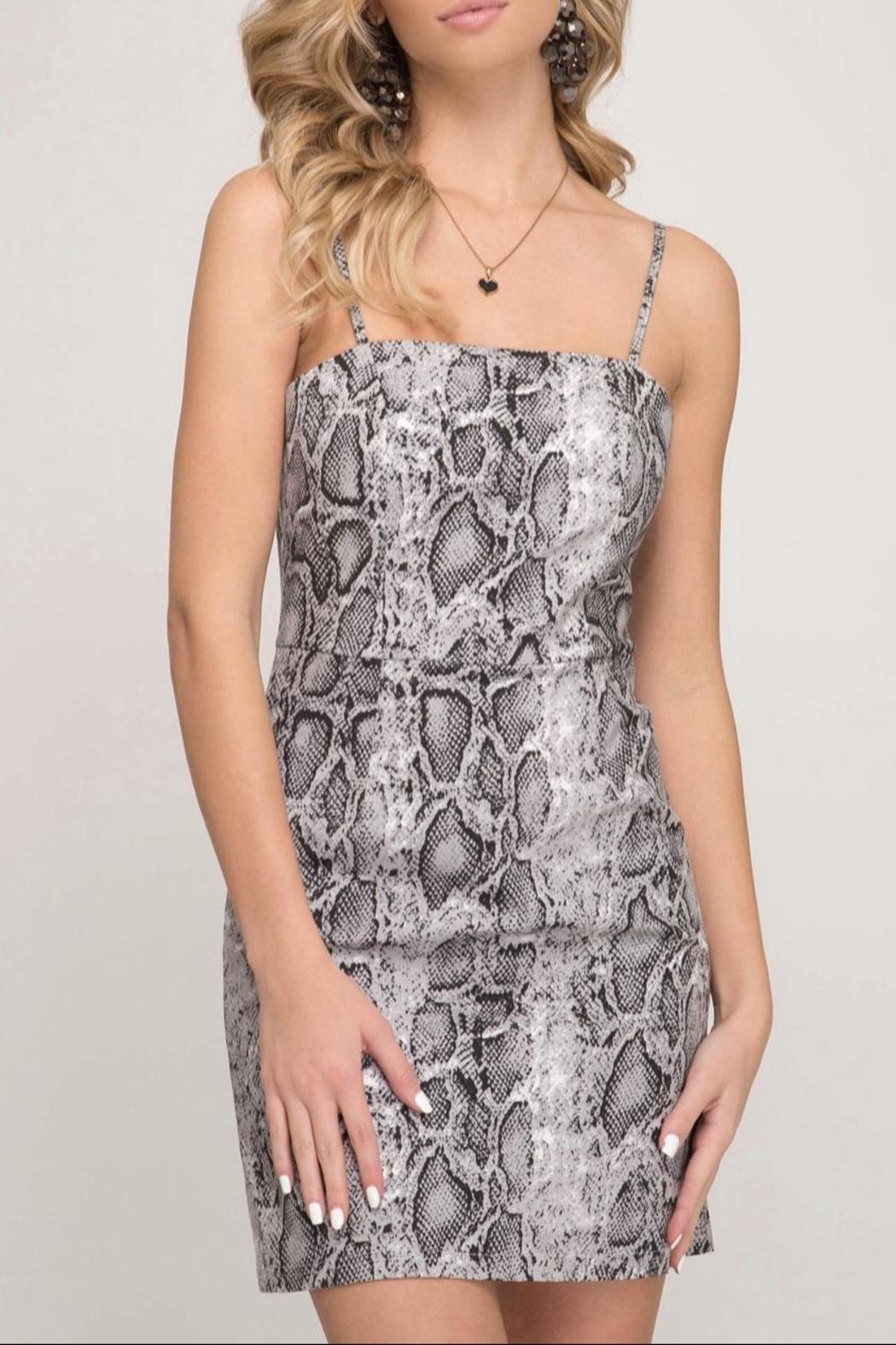 She + Sky Bodycon Snake-Print Dress - Front Cropped Image