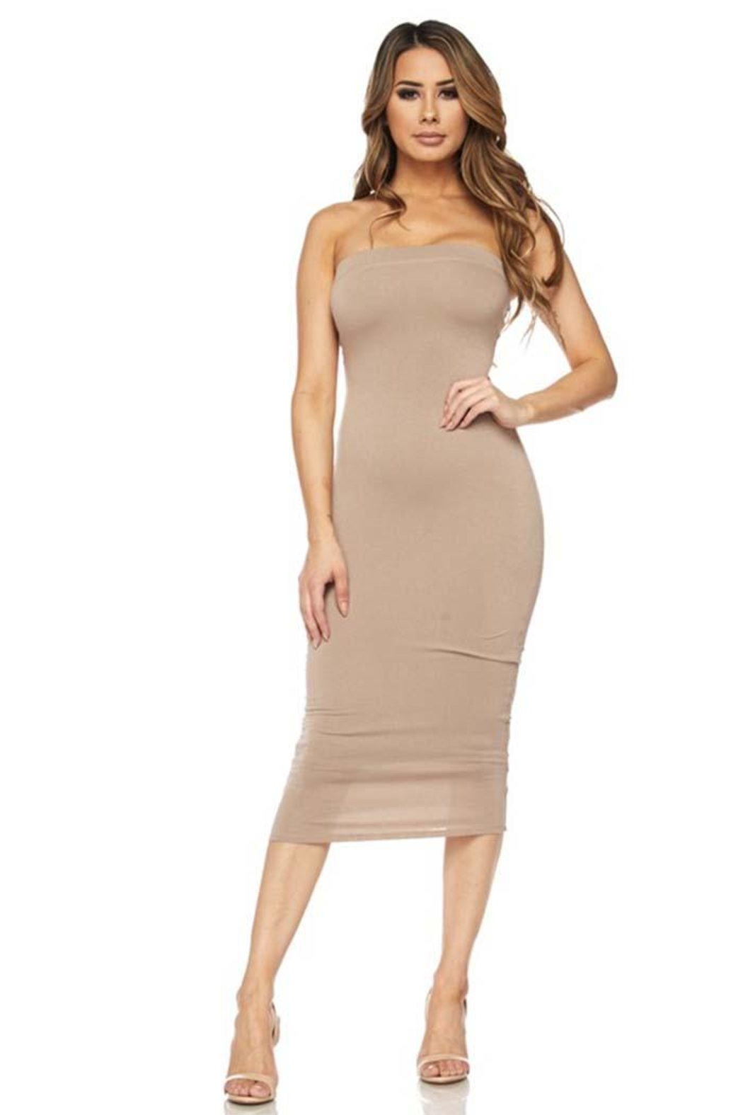 Hot & Delicious Bodycon Tube Dress - Front Cropped Image