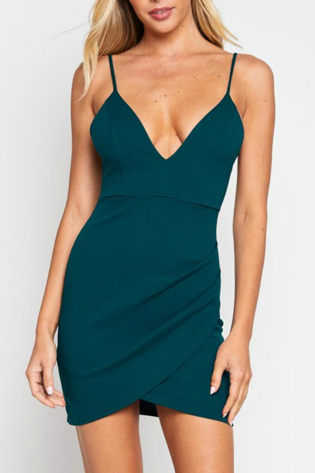 Pretty Little Things Bodycon Wrap Dress - Front Cropped Image