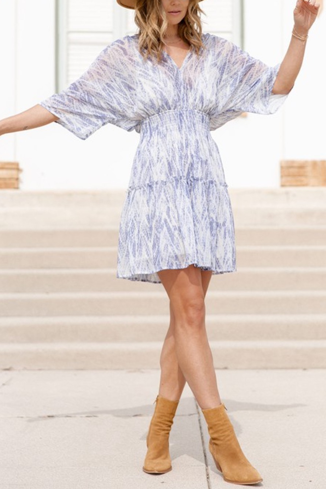 Love Stitch Bohemian Abstract Print Smocked Mini Dress - Front Cropped Image