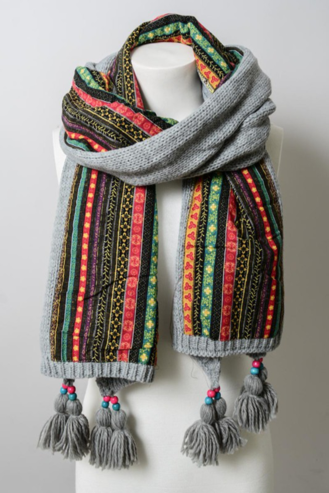 Leto Bohemian Knit Scarf with beaded tassels - Side Cropped Image