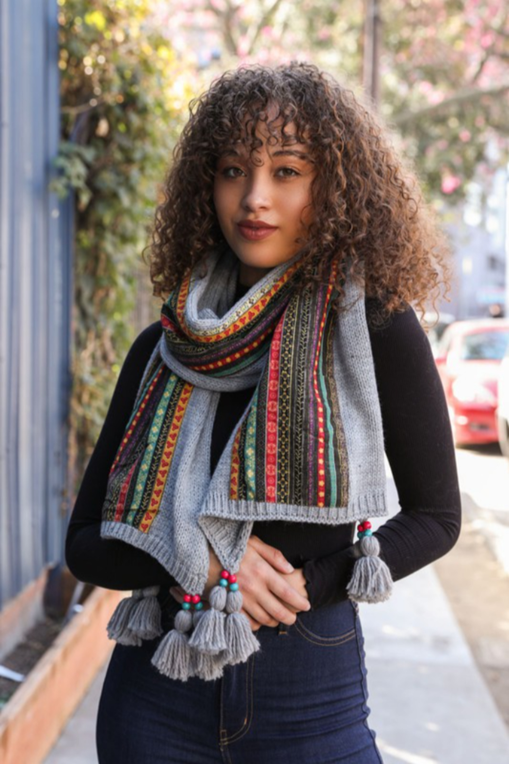 Leto Bohemian Knit Scarf with beaded tassels - Front Full Image