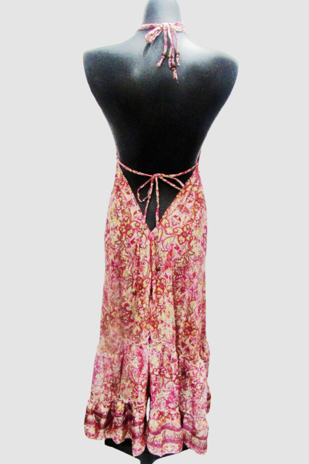 India Boutique Bohemian Rhapsody Halter Dress - Pink/Red Paisley - Front Full Image