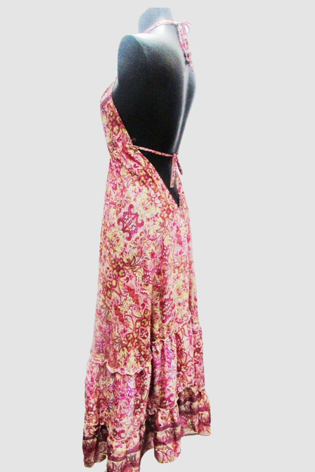 India Boutique Bohemian Rhapsody Halter Dress - Pink/Red Paisley - Side Cropped Image
