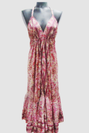 India Boutique Bohemian Rhapsody Halter Dress - Pink/Red Paisley - Front cropped
