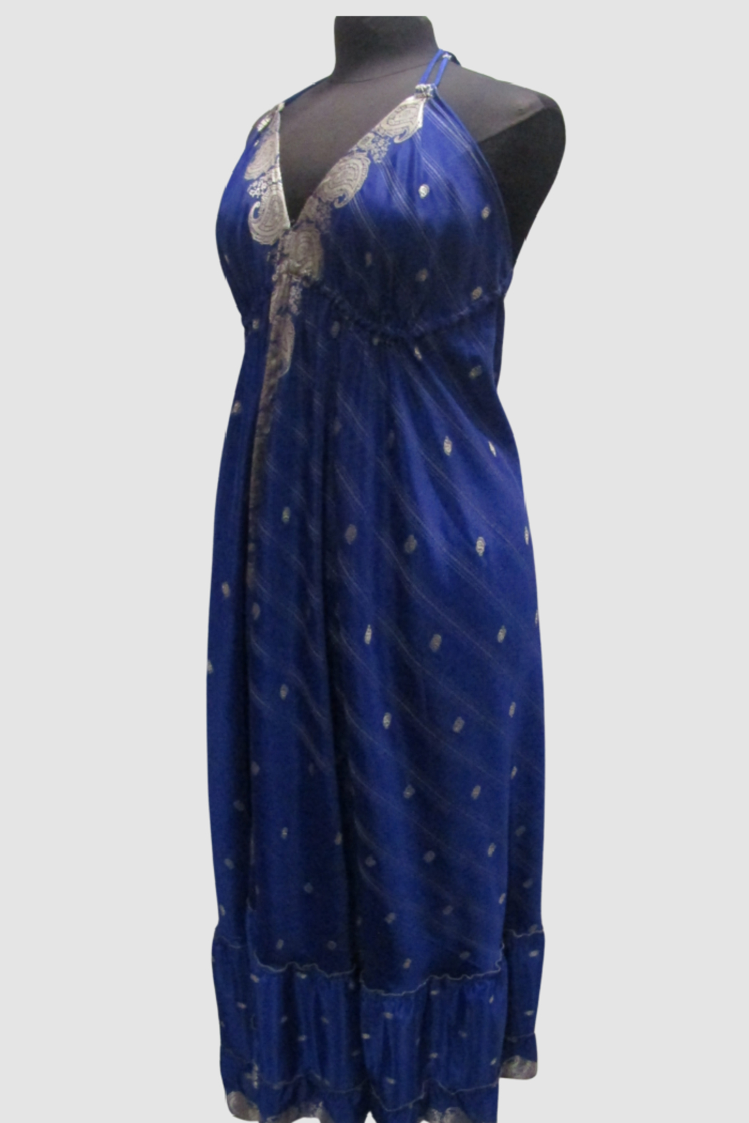 India Boutique Bohemian Rhapsody Halter Dress - Royal - Front Full Image
