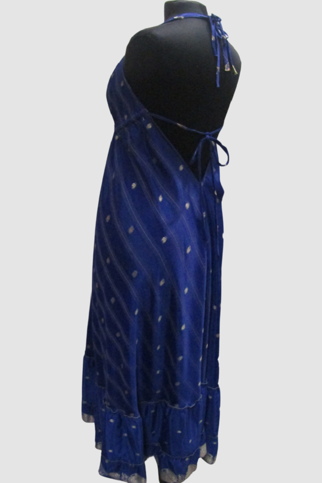 India Boutique Bohemian Rhapsody Halter Dress - Royal - Side Cropped Image
