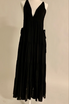 Seventy Five Degrees and Fuzzy Boho Black Dress with Side Ties - Alternate List Image