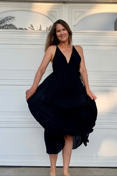 Seventy Five Degrees and Fuzzy Boho Black Dress with Side Ties - Product List Image