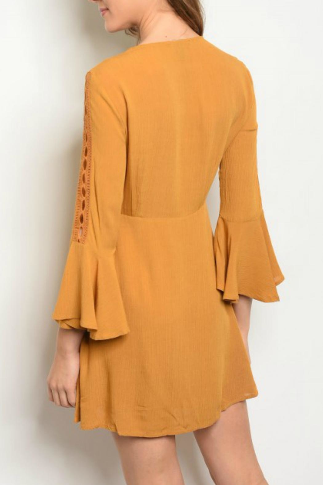 Shop The Trends  Boho-Chic Bell-Sleeve Dress - Front Full Image