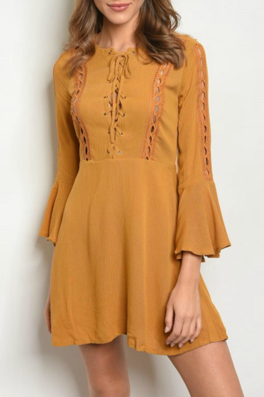 Shop The Trends  Boho-Chic Bell-Sleeve Dress - Main Image