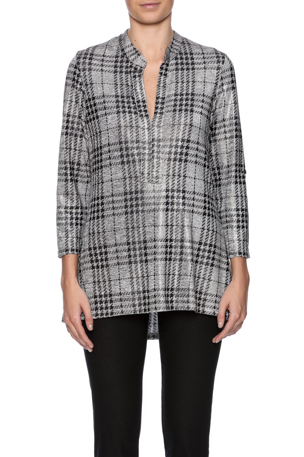 Boho Chic Houndstooth Top - Side Cropped Image