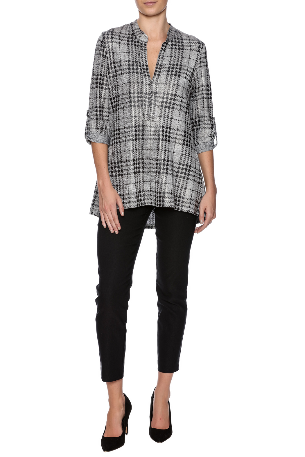 Boho Chic Houndstooth Top - Front Full Image