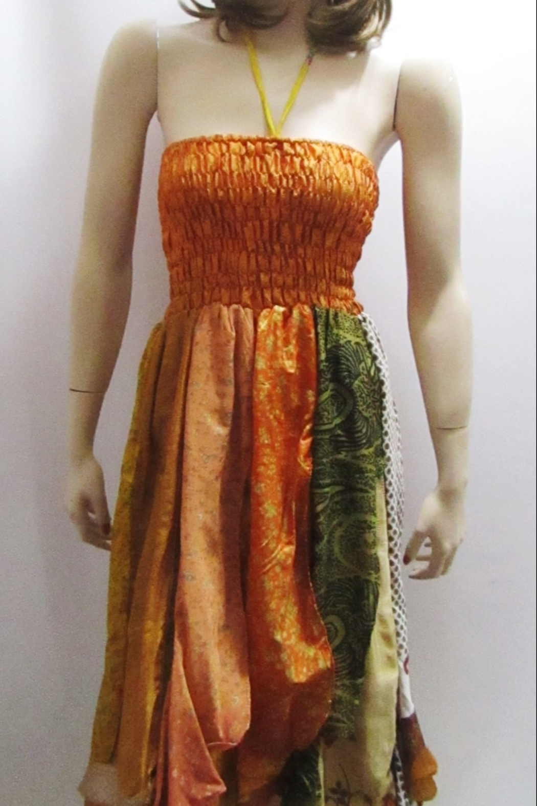 Indian Tropical BOHO CHIC SMOCKED RUFFLE DRESS - Front Cropped Image