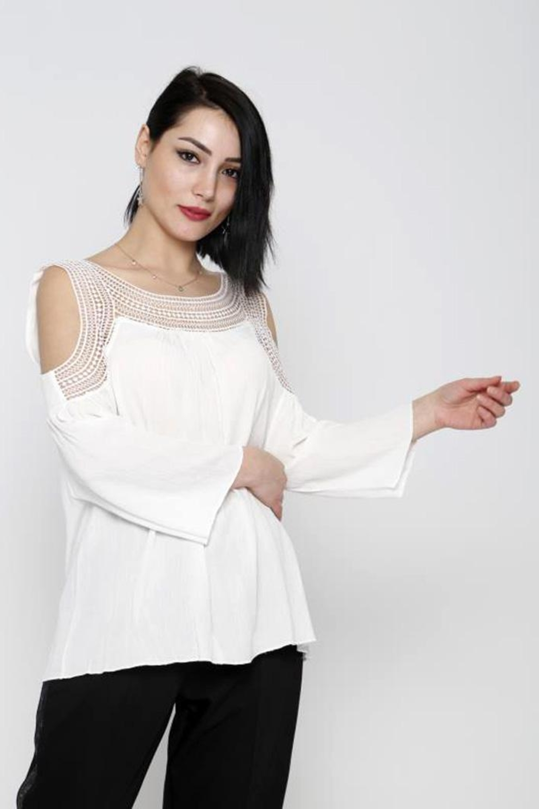 Marvy Fashion Boho Crochet Top - Front Cropped Image