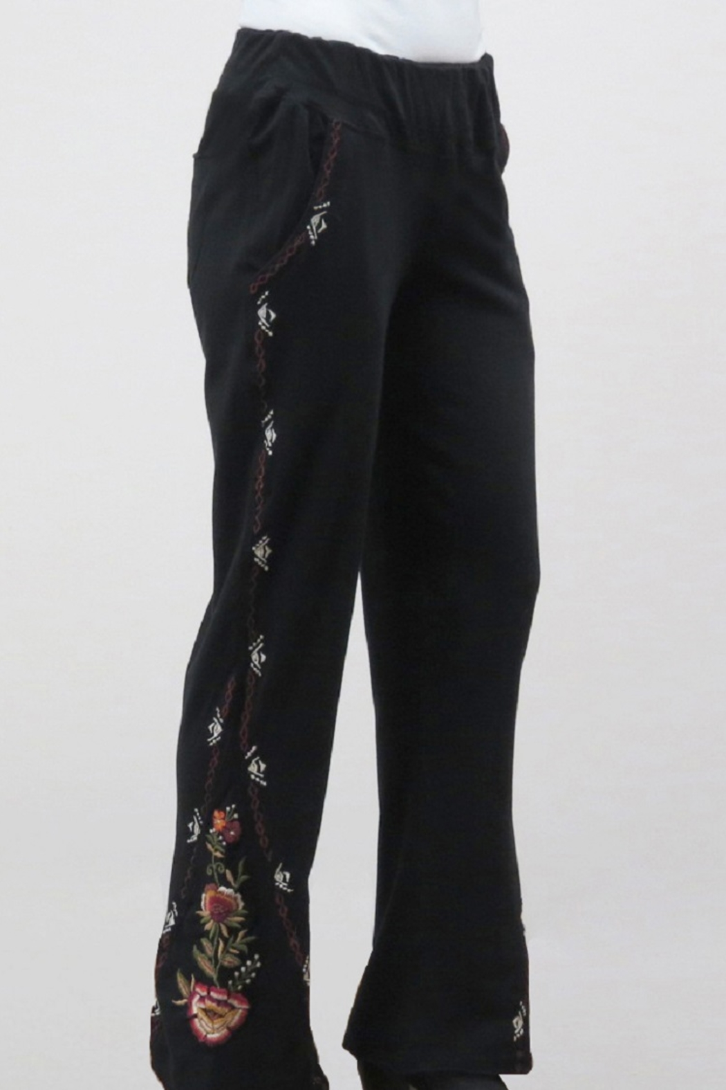 Caite Boho-Embroidered Flare Pant - Front Cropped Image
