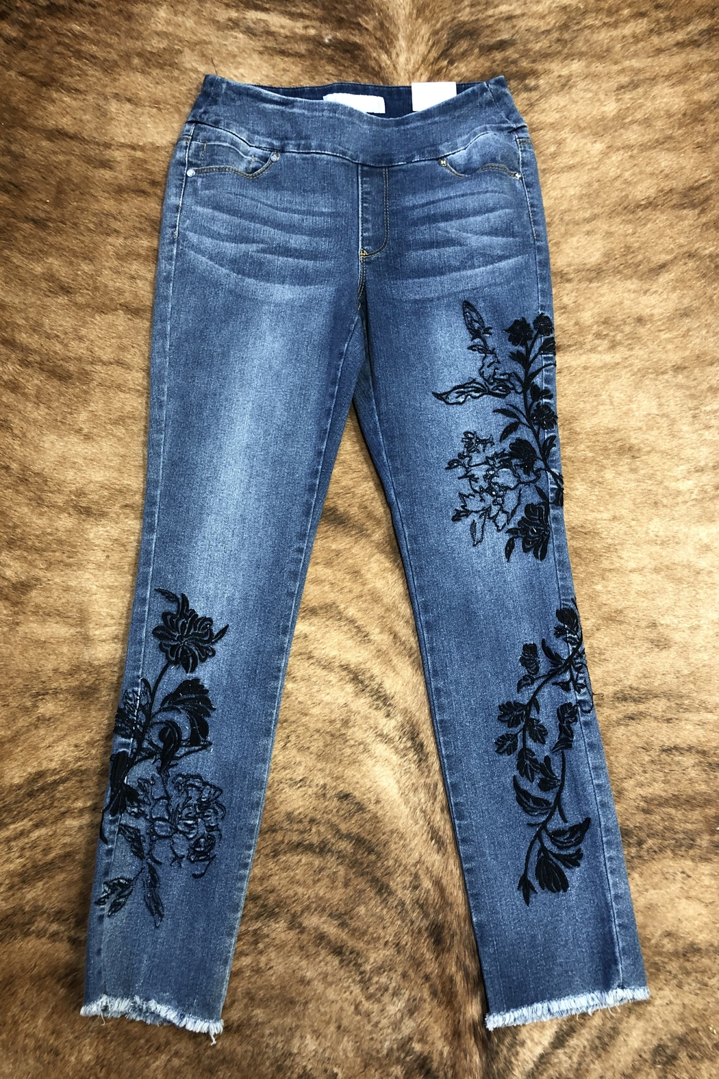 GG Jeans Boho Embroidered Jeans - Front Cropped Image