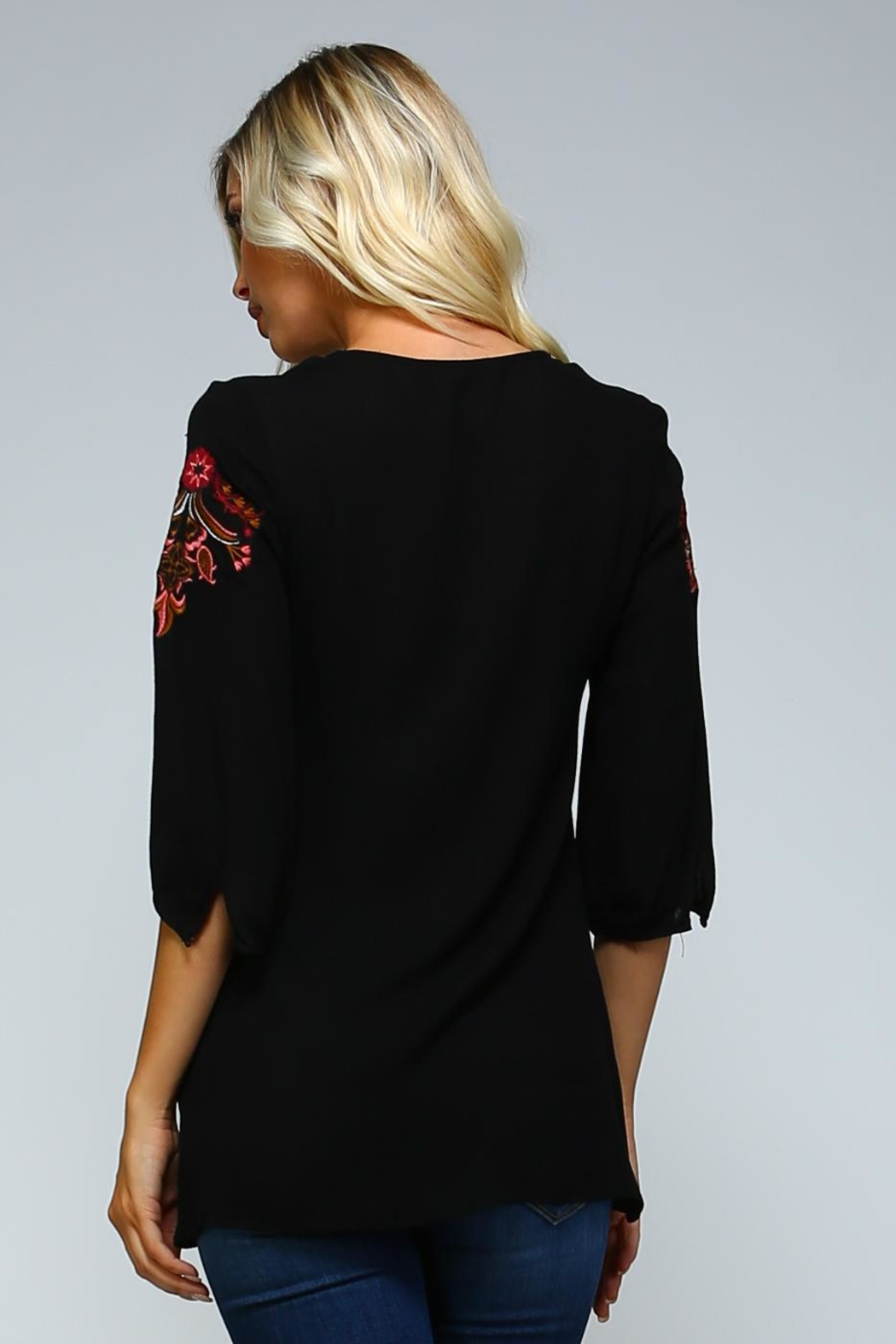 Racine Boho Embroidered Love-Top - Back Cropped Image
