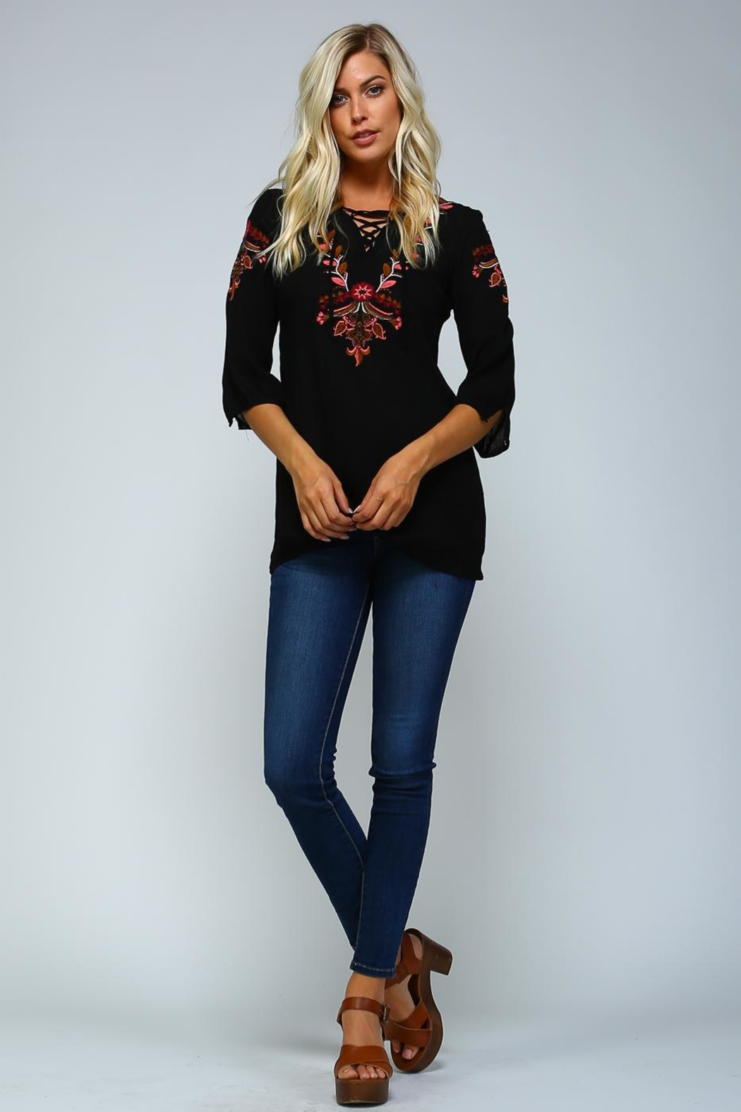 Racine Boho Embroidered Love-Top - Front Full Image
