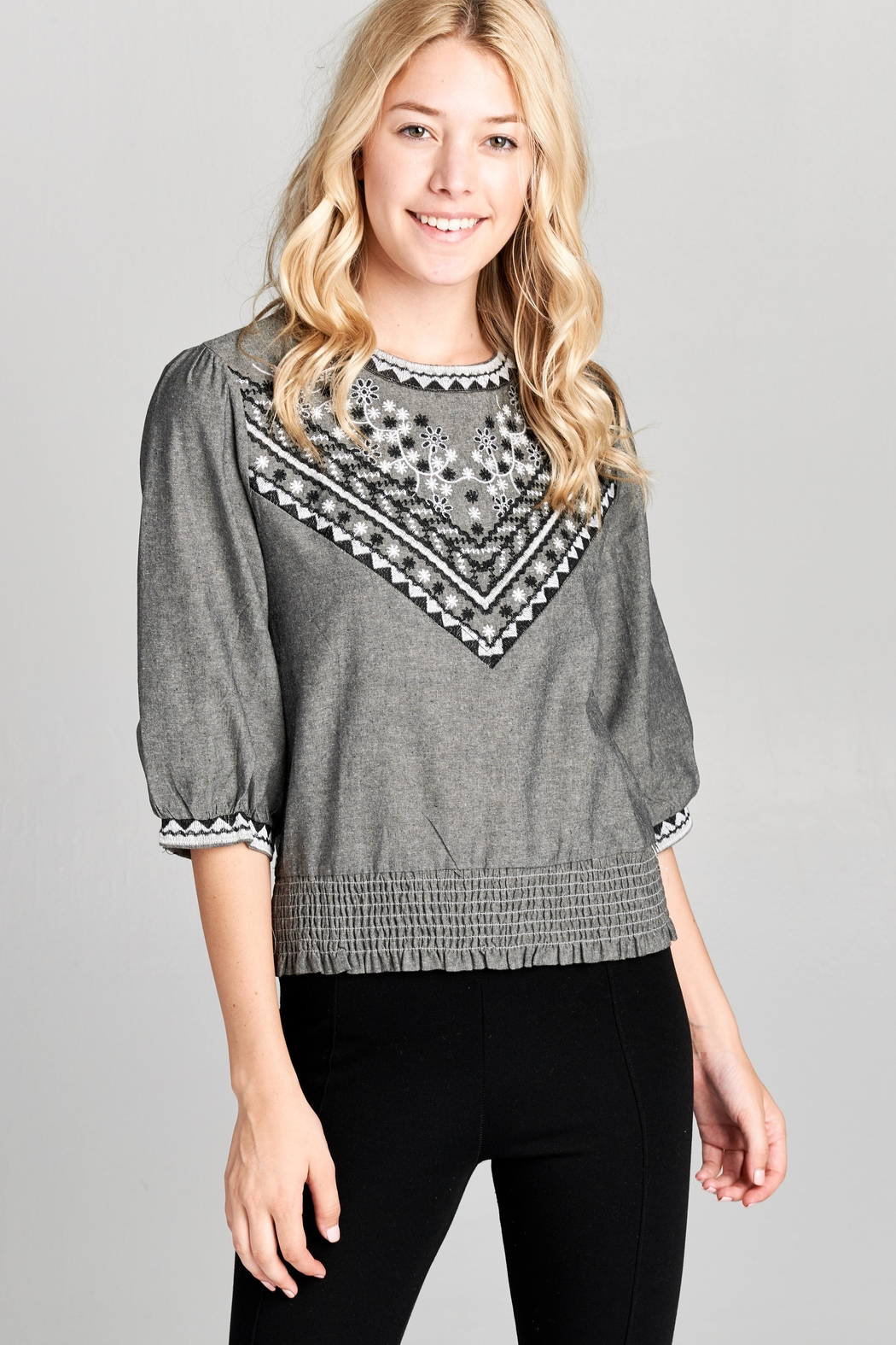 Racine Boho Embroidered Top - Front Cropped Image
