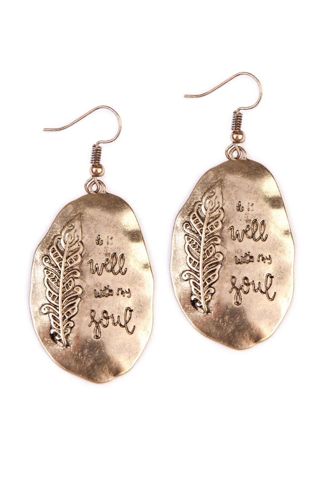 Riah Fashion Boho Engraved Earrings Front Cropped Image