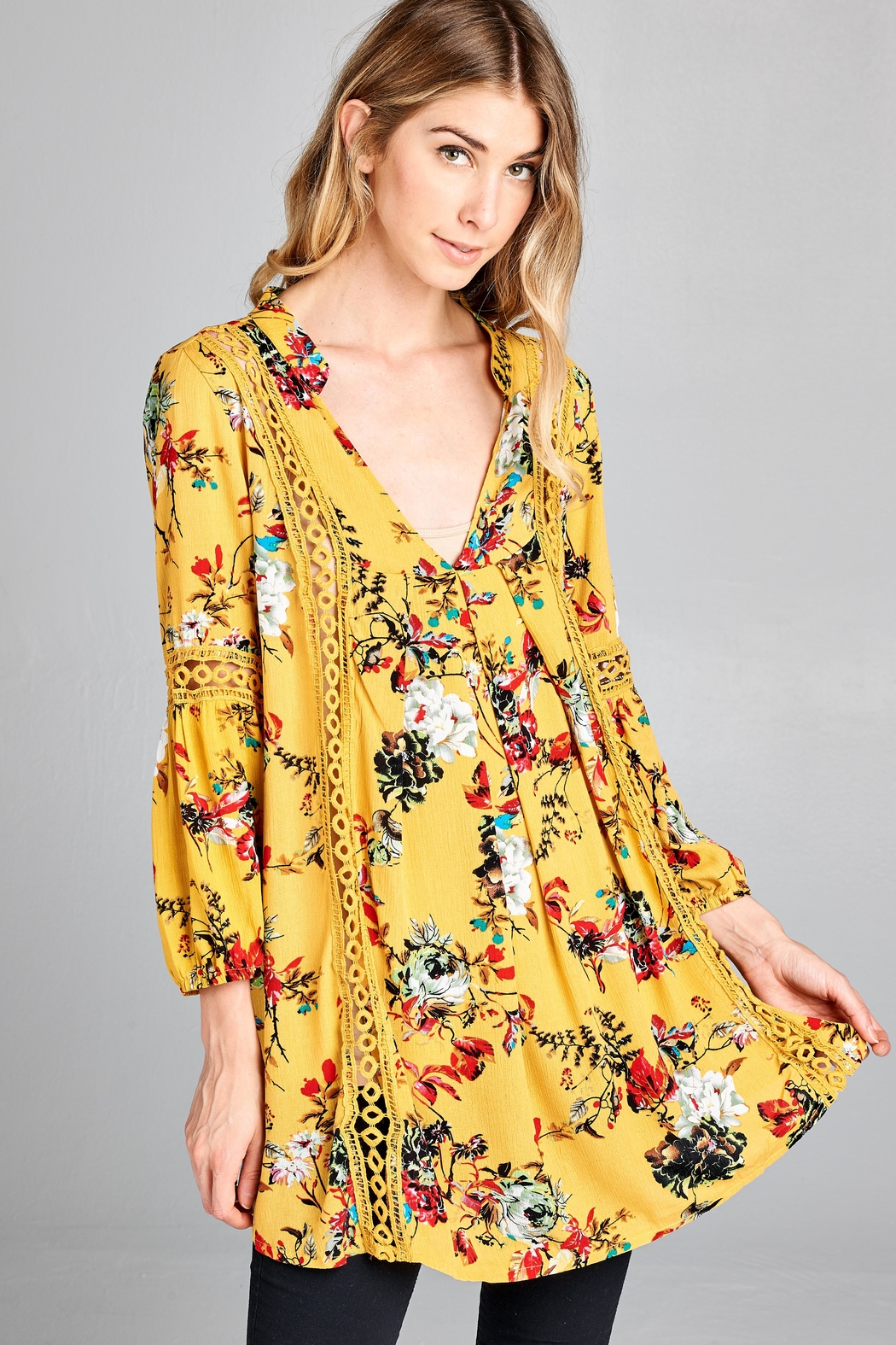 Racine Boho Floral-Print Top - Front Cropped Image
