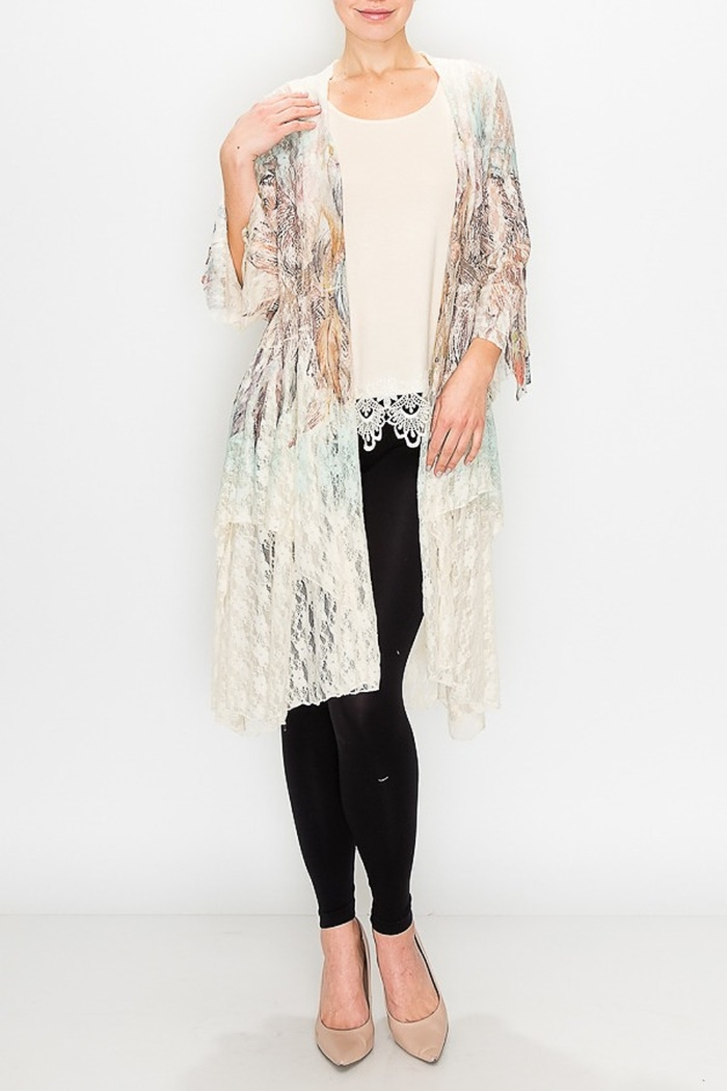 Origami Boho Lace Duster - Front Cropped Image