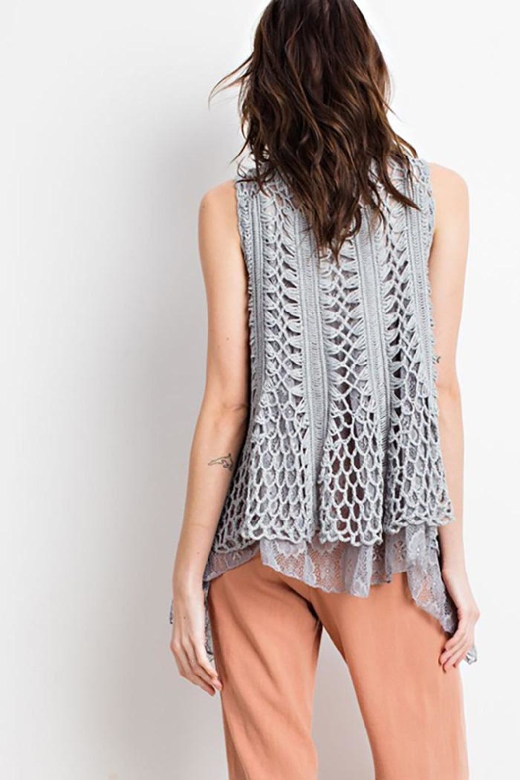 easel Boho Layered Vest - Back Cropped Image