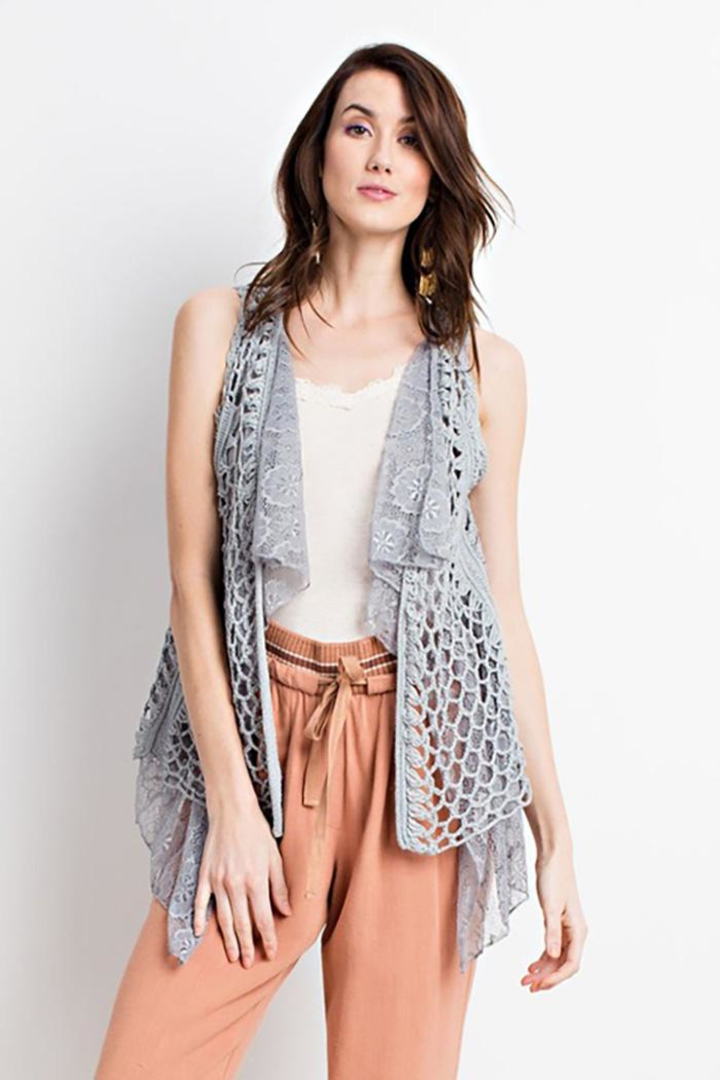 easel Boho Layered Vest - Front Cropped Image