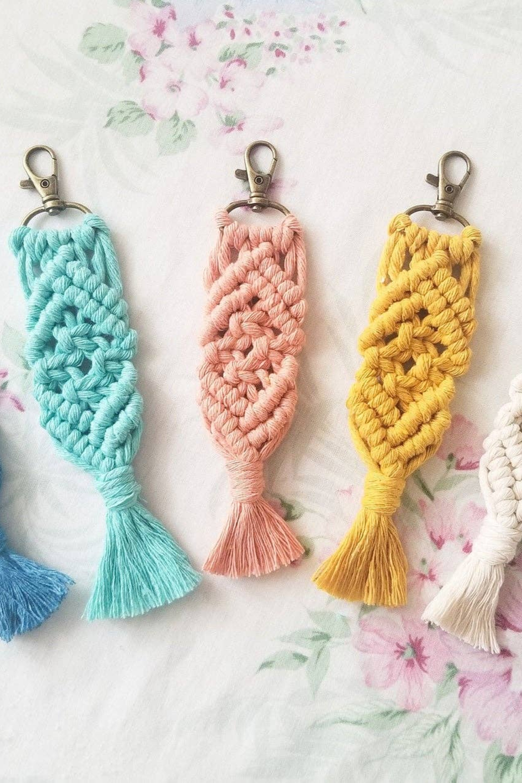 Dandelion and Lily Boho Macrame Keychain-Various Colors - Main Image