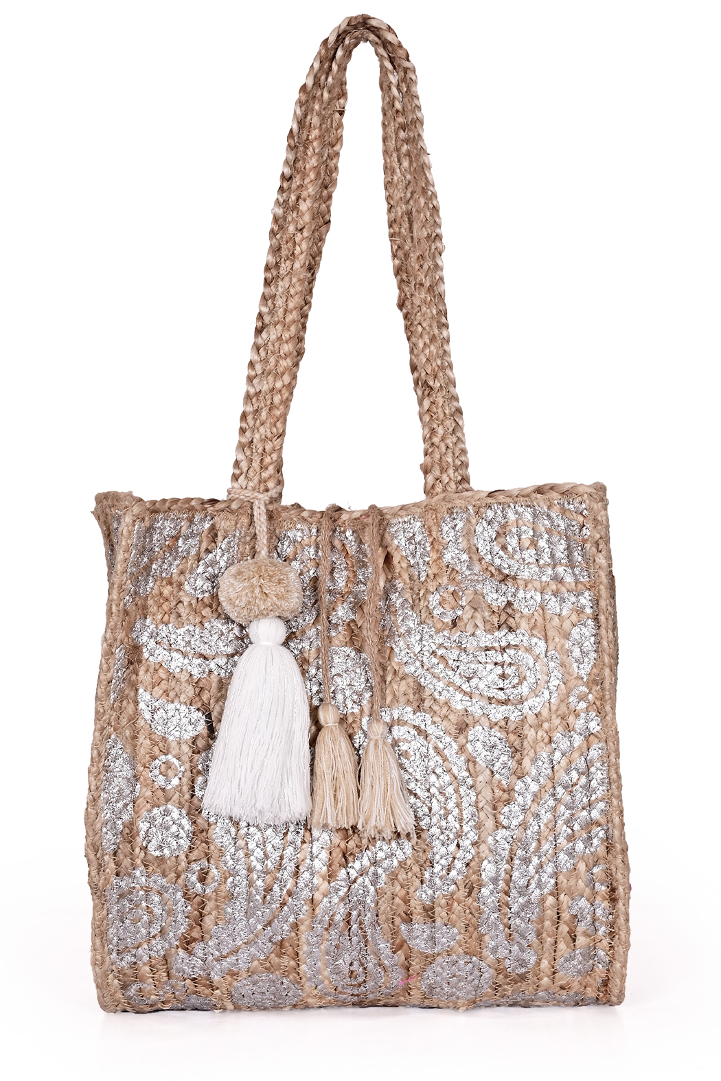 America & Beyond Boho-Mia Paisley Jute Beach Tote - Front Cropped Image