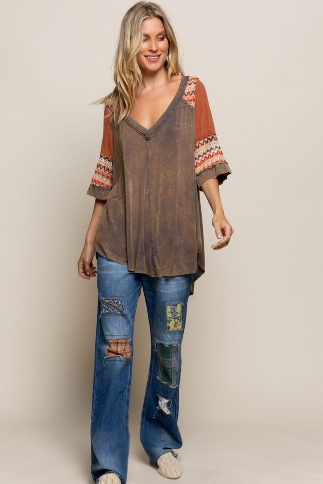 Pol Clothing BOHO Olive Brown Knit Top - Main Image