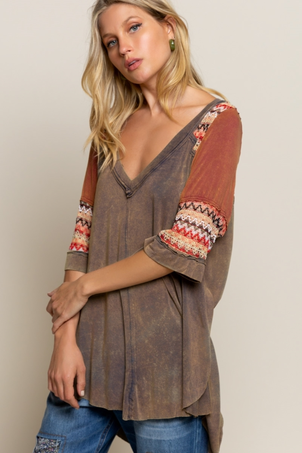 Pol Clothing BOHO Olive Brown Knit Top - Front Full Image