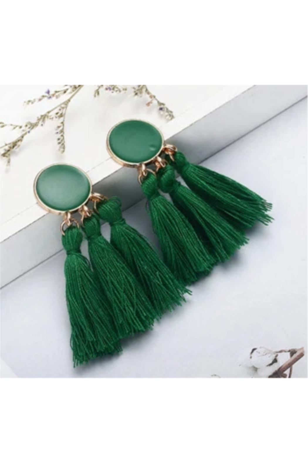 The Birds Nest BOHO STATEMENT GREEN TASSEL EARRINGS - Front Cropped Image