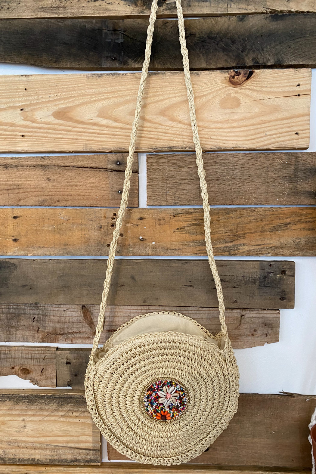 Kindred Mercantile  Boho straw crossbody - Front Cropped Image
