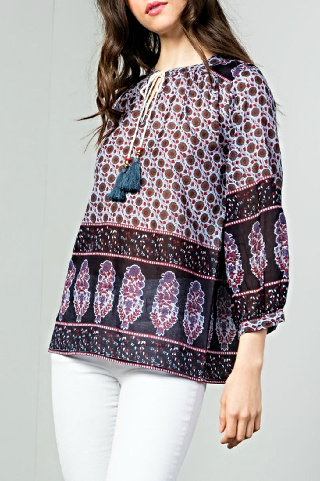 THML Clothing Boho Tie Top - Main Image