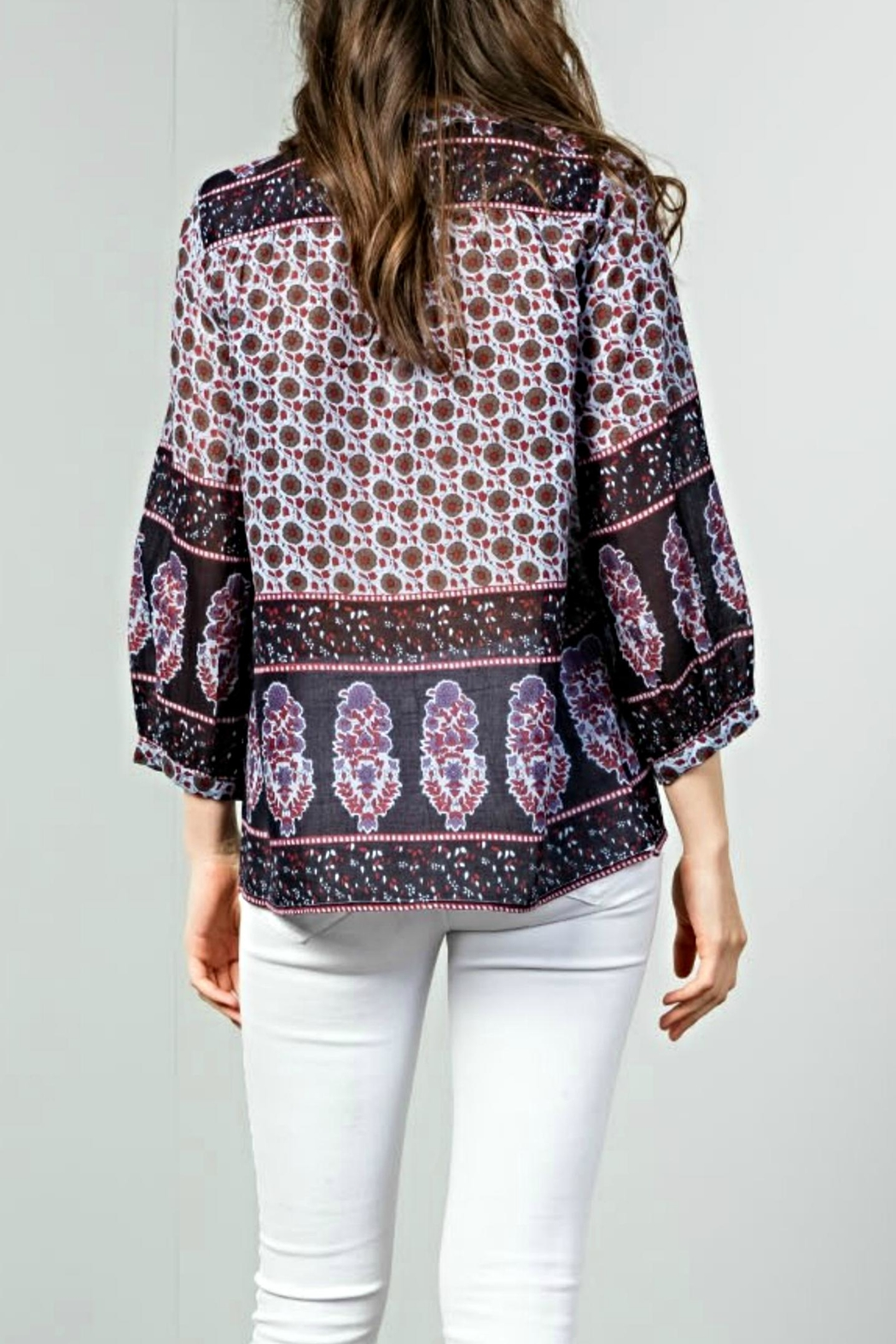 THML Clothing Boho Tie Top - Front Full Image