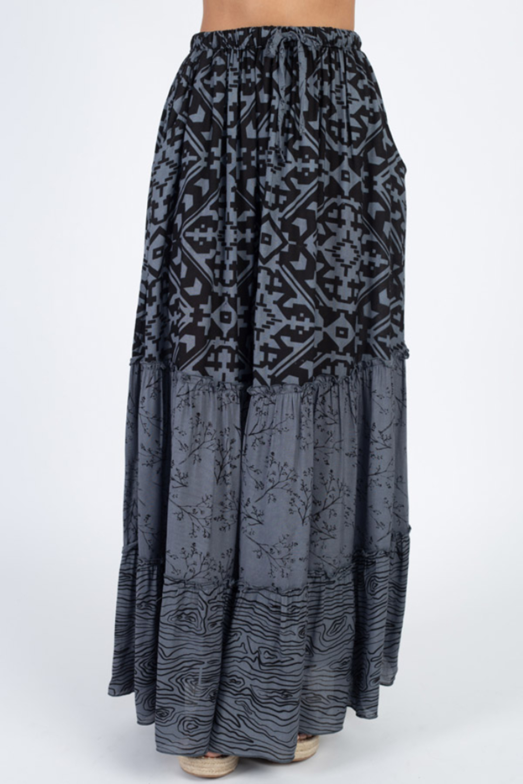 Lakhay's Collection Boho Tiered Skirt with pockets - Main Image