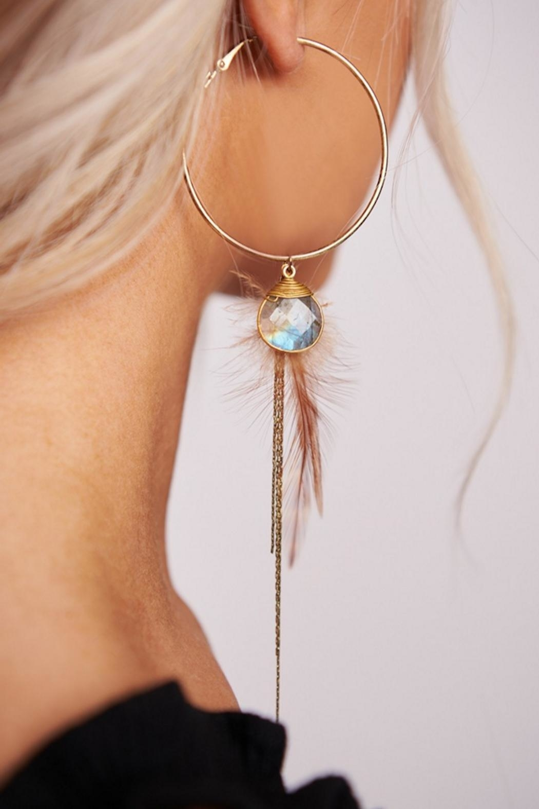 Boho Love Bo Feather Hoop - Front Cropped Image