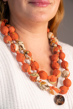 Handmade by CA artist Silky Fabric-Wrapped, Bead Necklace - Product List Image
