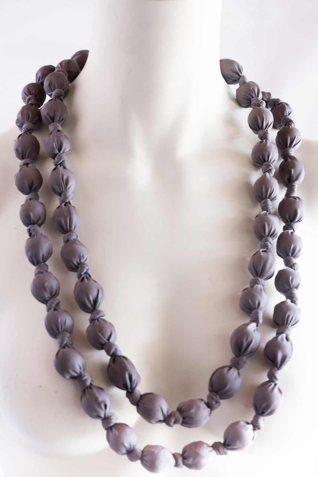 Handmade by CA artist Bold & Beautiful, Silky-Wrapped Necklace - Front Full Image
