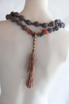 Handmade by CA artist Silky Fabric-Wrapped, Bead Necklace - Alternate List Image