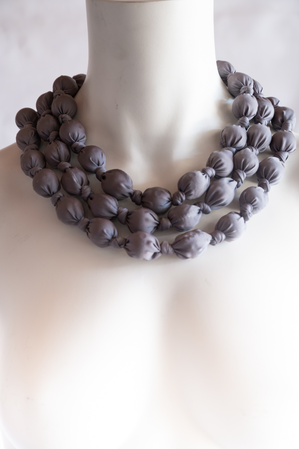 Handmade by CA artist Bold & Beautiful, Silky-Wrapped Necklace - Main Image