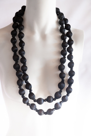 Handmade by CA artist Silky Fabric-Wrapped, Bead Necklace - Front full body