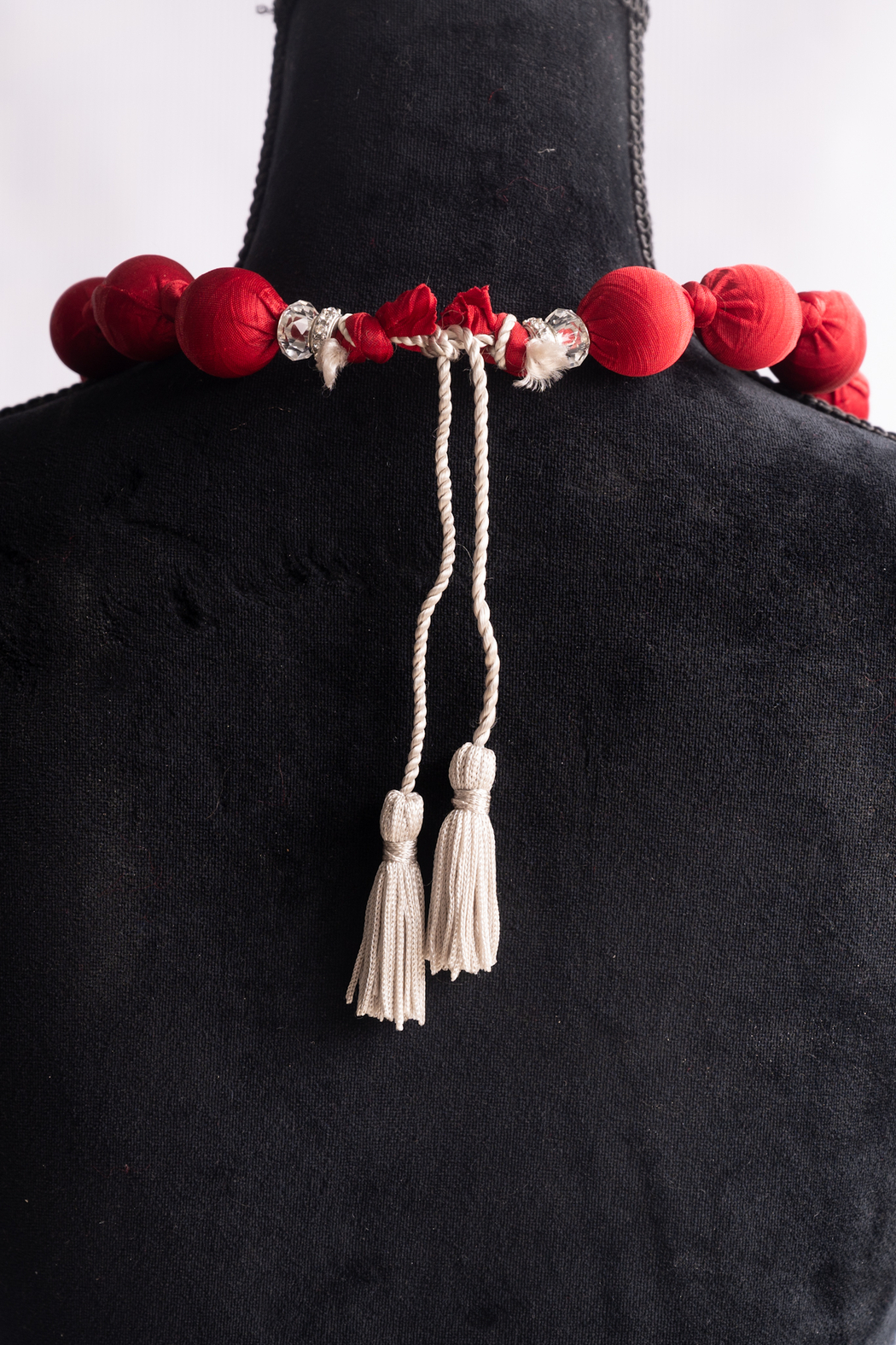 Handmade by CA artist Silky Fabric-Wrapped, Bead Necklace - Front Full Image