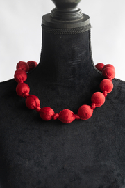 Handmade by CA artist Silky Fabric-Wrapped, Bead Necklace - Side cropped