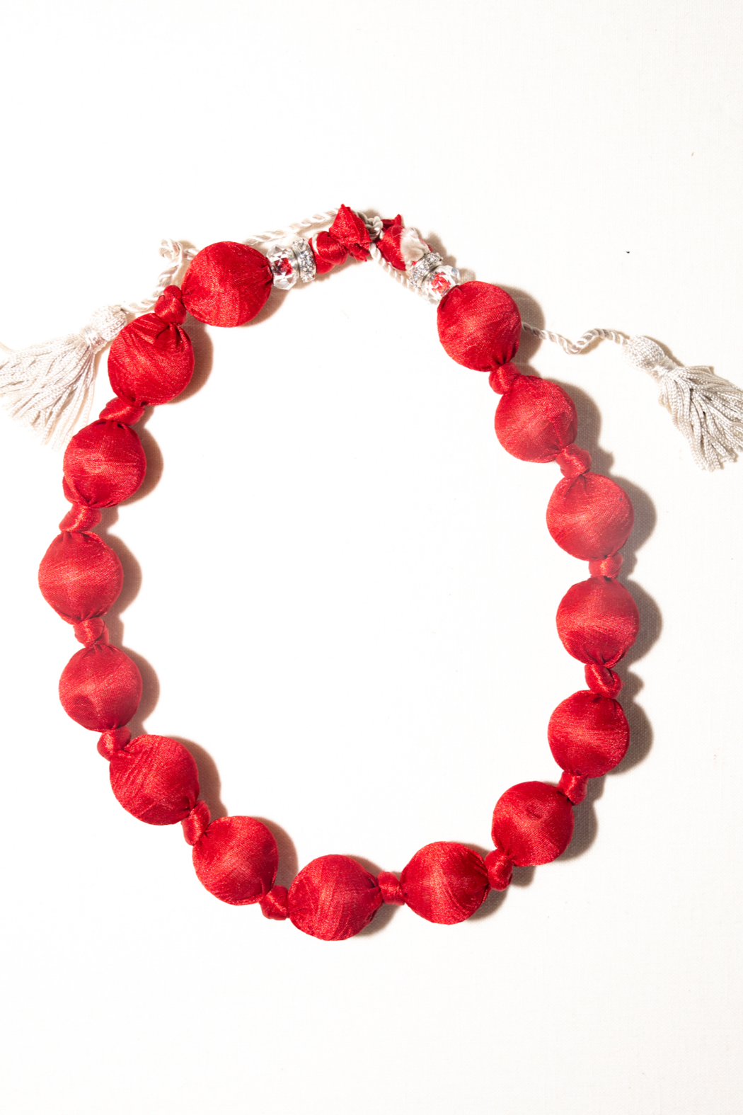Handmade by CA artist Silky Fabric-Wrapped, Bead Necklace - Main Image